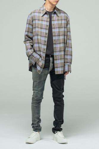 [SALE] 그린 체크 사이드 트임 셔츠